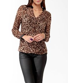 """{Love21 wild faux leather trimmed blouse} {a """"classic"""" blouse  nicely updated with a faux leather trimmed collar and sleeves}"""
