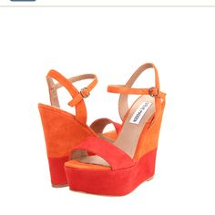 Steve Madden , bright wedges ... Cannot wait for spring / summer shoes