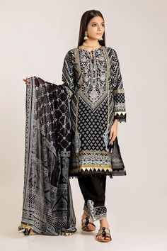 Front Lawn Printed Length Back Lawn Printed Length Sleeve Lawn Print Embroidered Length Chiffon Printed Dupatta Length Embroidered Shalwar Length Brownie Cupcakes, Latest Trends, Kimono Top, Trending Outfits, Shirts, Clothes, Shopping, Black, Tops