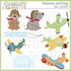 Dog Clipart, Puppy Clipart, airplane cliaprt, plane clipart, baby clipart, boy clipart, transportation clipart