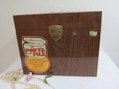 Metal File Box with Key Wood Grain Look by LuRuUniques on Etsy