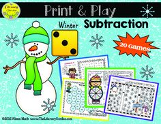 The easy PRINT & PLAY design of these games make them a favorite with busy teachers.  Simply print onto card stock and slip inside a heavy ply sheet protector!  NO CUTTING! NO LAMINATING!  This winter edition has 20 game boards to practice basic subtraction facts up to 18 - ?. The games are differentiated so you can engage and challenge your class while also meeting the needs of those who need more review and practice. Perfect for math stations or fast finishers