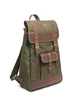 Brown Leather & Military Green Canvas Backpack.