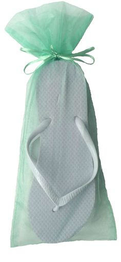 a523383720e570 Classic White Flip Flop with Mint Organza Bags