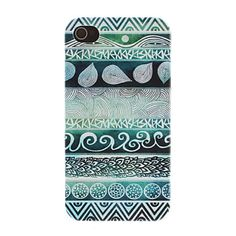 Verde Tons Waves Pattern Caso duro PC para iPhone 4/4S – BRL R$ 13,05