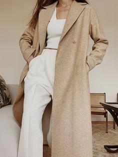 The Vartist Long Coat ( previous season ), Mango Top , Pixie Market Linen Trousers , Arket Leather Loafers Boho Fashion, Spring Fashion, Winter Fashion, Fashion Outfits, Woman Fashion, Spring Outfit Women, Fall Outfits, Bohemian Mode, Street Style
