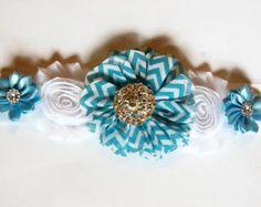 Faja maternidad azul y marfil azul encaje Faja por Headbandspot