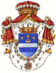 Arms of H.E. the Count Alessandro Mariotti Solimani Knight of the Illustrious Royal Order of Saint Januarius