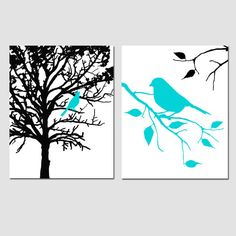 Set of Two 11x14 Prints - Birds and Trees - Aqua, Black, White -Love this for my dining room!
