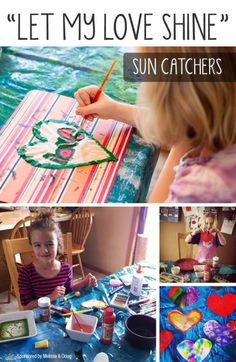 Coffee-Filter Heart Sun Catchers for Children *Love this tip about having the kids use acrylic paint instead of watercolors, interesting...