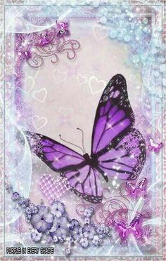 By Artist Unknown. Purple Art, Purple Love, All Things Purple, Butterfly Kisses, Purple Butterfly, Butterfly Art, Butterfly Background, Butterfly Wallpaper, Wallpaper Backgrounds
