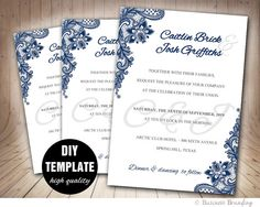 Navy Blue Wedding Invitation Template DIY,Instant Download Printable  Wedding Invitation, Blue Wedding Invite