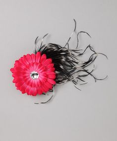 Somethin' for your frockstar's locks!   Take a look at this Black & Hot Pink Flower Hair Clip by Sparkle Couture on #zulily today!