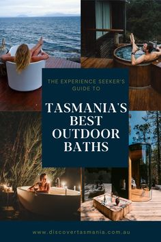 A relaxing soak in an outdoor bath tub is one of life's great pleasures. Immerse yourself in steaming water and Tasmania's pristine, wild beauty. Choose from wilderness, cityscapes, coast, or farmland under Australia's clearest night-time skies. Pour yourself a glass of bubbles and savour an indulgent moment for two, or, just you. Outdoor Tub, Outdoor Baths, Outdoor Retreat, Beautiful Places To Visit, Oh The Places You'll Go, Places To Travel, Hobart Australia, Australia Travel, Holiday Destinations