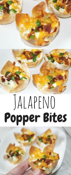 Easy jalapeno popper bites with Egg Roll Wrappers or wonton cups- Jalapeno Popper Bites Appetizer Recipe