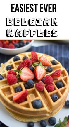 Belgian waffles are such a classic weekend breakfast. Grab a few pantry items and make these with this easy, fail-proof Belgian Waffle Recipe. Best Dessert Recipes, Fun Desserts, Sweet Recipes, Delicious Desserts, Breakfast Recipes, Brunch Recipes, Waffle Batter Recipe, Waffle Mix Recipes, Easy Belgian Waffle Recipe