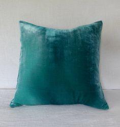 Velvet green shaded hand painted velvet pillow cover by Colorbloom