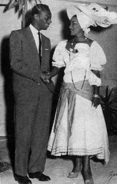 The Legendary Haitian Singer Martha Jean-Claude with The Legendary American singer Nat King Cole. 1950s.