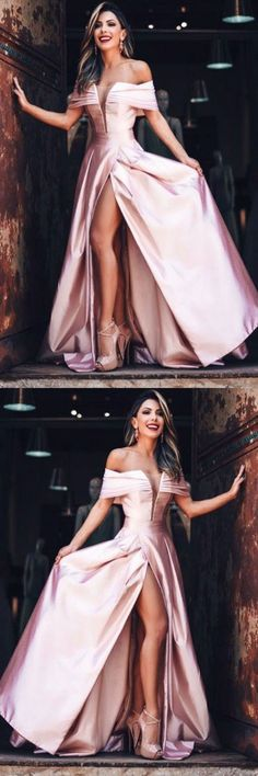 Charming blush pink party dress, stain long prom dress, off shoulder prom dress 51608 #RosyProm #fashionpromdress #charmingpromgown #longpartydress #simpleeveningdress #promdress #offshoulderpromdress #blushpinkpromgown #promgown