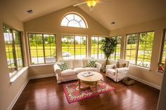 Four season room in a ranch home at Villas at Sedgefield in North Carolina #seaonal #room #fourseasonroom