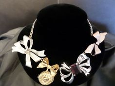 Vintage Mixed Metal Bows & Curb Chain Statement Necklace #1442
