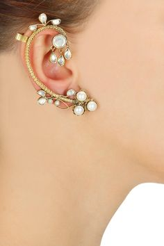 Gold plated round textured pipe stone studded earrings available only at Pernia's Pop-Up Shop.