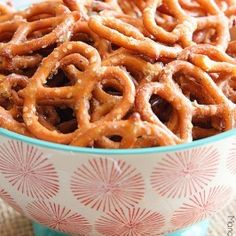 Spicy Pretzels are an addicting snack and the heat can be adjusted to suit your tastes. With less than 5 minutes of prep time and a few simple ingredients, kids and adults will love these! Spicy Pretzels, Ranch Pretzels, Seasoned Pretzels, Pretzels Recipe, Ranch Dip, Jambalaya, Mustard Pretzels, Pretzel Snacks, Game Day Snacks