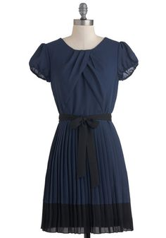 Demure the Merrier Dress by Max and Cleo - Mid-length, Blue, Black, Solid, Pleats, Belted, A-line, Short Sleeves, Party, Sheer, Work