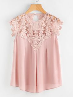 Shop Keyhole Back Daisy Lace Shoulder Shell Top online. SheIn offers Keyhole Back Daisy Lace Shoulder Shell Top & more to fit your fashionable needs. Pink Lace Tops, Lacy Tops, Sheer Tops, Mode Style, Look Fashion, Fashion Styles, Blouse Designs, Blouses For Women, Designer Dresses