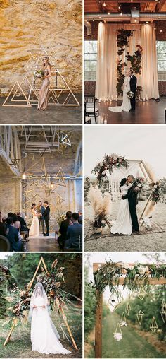 chic and stylish geometric wedding ceremony altars ideas