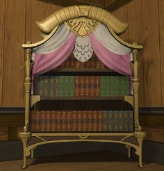 Sylphic Bookshelf: A quaint bookshelf inspired by sylphic colors and curves. Comes complete with a selection of treatises on weaving, dancing, and mischief-making. | Level: 43 Goldsmith