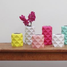 Origami folded paper vases - how awesome!