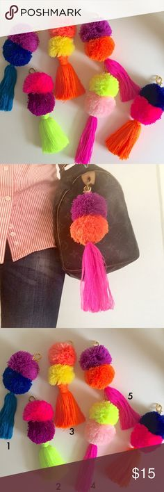"""Colorful Hand Made Pom Pom *Hand made key chain from artisans of Jalisco, Mexico.                                                                      *Every key chain is unique.                                        *About 8"""".                                                                    *Looks great on bags, book bags or as a key chain.                                                                         *Price is FIRM! Accessories"""