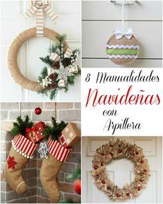 8 manualidades navideñas con arpillera