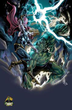 #Hulk #Fan #Art. (Hulk VS Thor colors) By: Spidey0318. ÅWESOMENESS!!!™ ÅÅÅ+