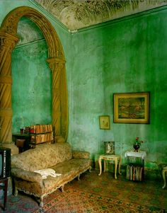 Green Living Room in Havana photographed by Michael Eastman - Latin American home decor | Paint + Pattern