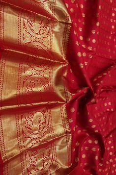 Discover thousands of images about Red Handloom Kanjeevaram Pure Silk Small Peacock Design Saree Red Saree Wedding, Pattu Sarees Wedding, South Indian Wedding Saree, Designer Sarees Wedding, Wedding Silk Saree, Bridal Sarees, Wedding Wear, Wedding Events, Kanjipuram Saree