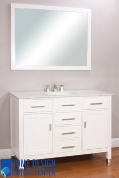 "ALYA-FW-816-48-W-NT 48"" White Single Contemporary Bathroom Vanity 