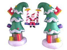 10' Airblown Inflatable Santa Claus on Swing Lighted Christmas Yard Art Decor | Yard Decorations | My Favorite Holiday Store