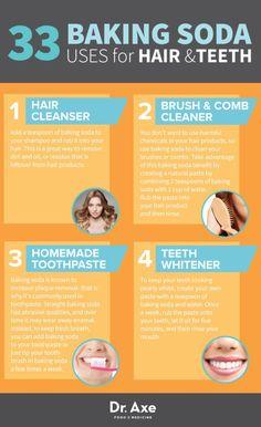Baking Soda Uses for Hair & Teeth list infographic