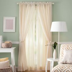 Better Homes and Gardens Lined Sheer Curtain Panel  Nice window dressings to bring the look together....