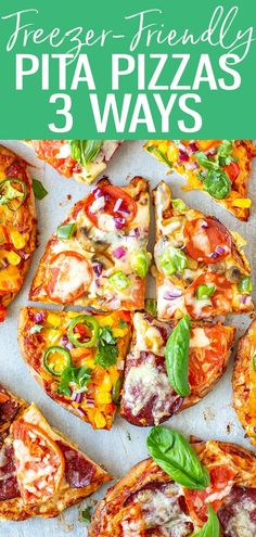 Here's how to make Pita Pizza 3 Ways (veggie, margherita and Tex Mex) - they're so great for meal prep and make fantastic freezer meals. #pitapizza #freezermeal Fun Pizza Recipes, Supper Recipes, Lunch Recipes, Breakfast Recipes, Pizza Wraps, Pita Pizzas, Meal Prep For The Week, 30 Minute Meals, Tex Mex