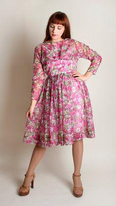 Silk Dress, Dress Skirt, Dress Form, Waist Skirt, Vintage 1950s Dresses, Vintage Skirt, Sheer Chiffon, Floral Chiffon, Evening Dresses