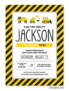 Construction party invitations Professionally by Chickabug