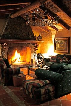 classic lodge stone fireplace living room