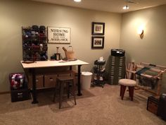 My yarn storage and craft table.