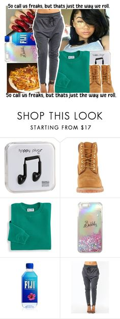 """"" by geazybxtch24 ❤ liked on Polyvore featuring Happy Plugs, Timberland and Blair"