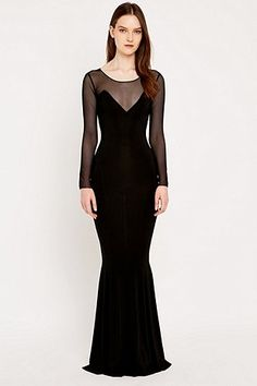 Kamali Kulture Long Sleeve Fishtail Gown - Urban Outfitters