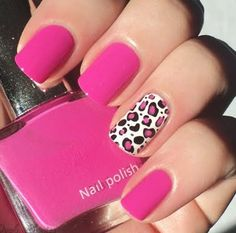 Hi, Today I'll show you a pink leopard manicure. I painted all my nails with Sinful Colors -Pink Creme, except the ring finger, on which I a. Fancy Nails, Love Nails, How To Do Nails, Pretty Nails, My Nails, Pink Cheetah Nails, Pink Zebra, Leopard Nail Art, Nail Pink