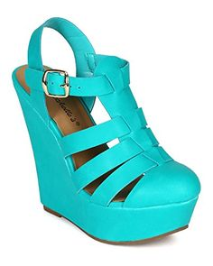 Breckelles CK91 Women Leatherette Round Toe Caged Gladiator Platform Wedge Sandal  Aqua Size 65 >>> Want to know more, click on the image.(This is an Amazon affiliate link and I receive a commission for the sales)